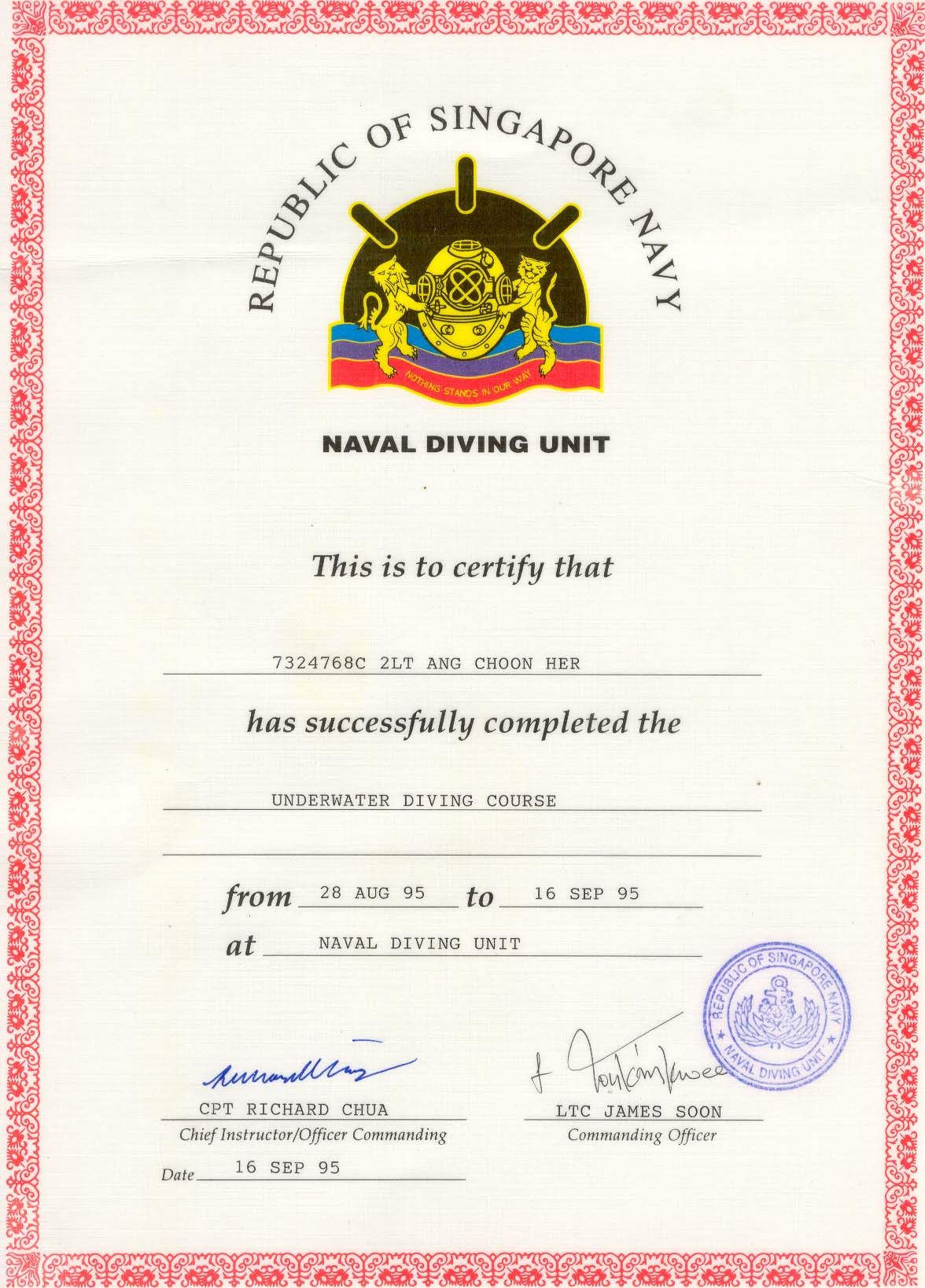 Naval Officer with Diver Cert